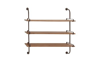 Brown 38 Inch Wood Metal Wall Shelf