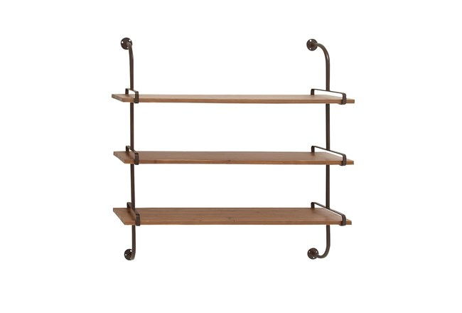 Brown 38 Inch Wood Metal Wall Shelf - 360