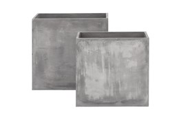 Grey 28 Inch Fiberclay Grey Planter Set Of 2