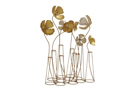 Gold 21 Inch Metal Flower Table Decor - Main