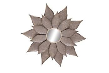 Light Brown 51 Inch Metal Wall Mirror