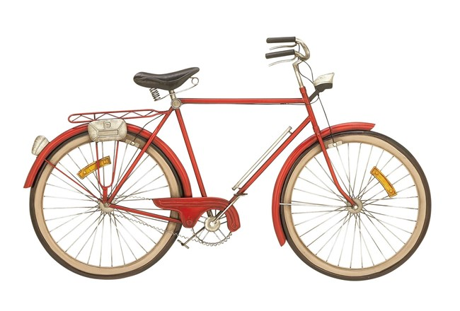Red 24 Inch Metal Bicycle Wall Decor - 360
