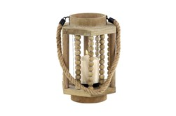 Beige 11 Inch Wood Glass Lantern