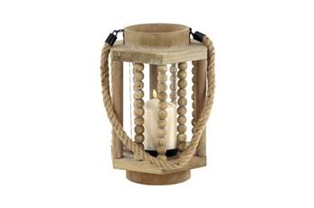 Beige 11 Inch Wood Glass Lantern