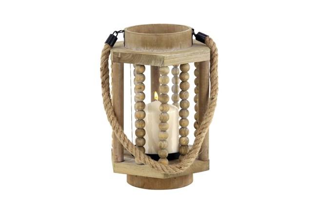 Beige 11 Inch Wood Glass Lantern - 360