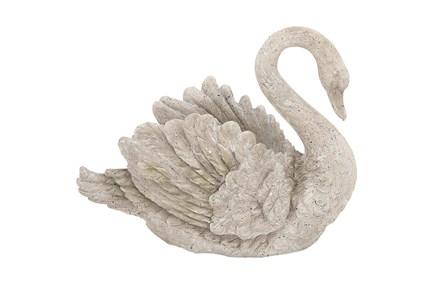 Grey 15 Inch Polystone Swan Vase - Main