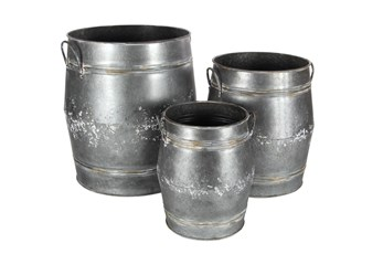 Grey 24 Inch Metal Planter Set Of 3