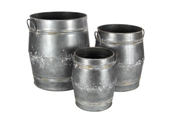 Grey 24 Inch Metal Planter Set Of 3