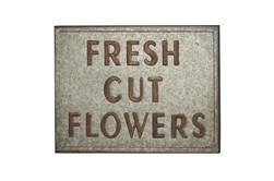 """Grey 19 Inch Metal """"Fresh Cut Flowers"""" Wall Decor"""