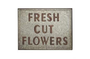 "Grey 19 Inch Metal ""Fresh Cut Flowers"" Wall Decor"