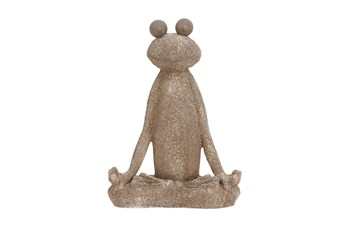 Brown 24 Inch Polystone Frog Sculpture
