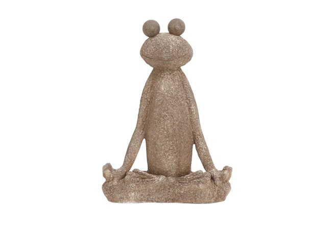 Brown 24 Inch Polystone Frog Sculpture - 360