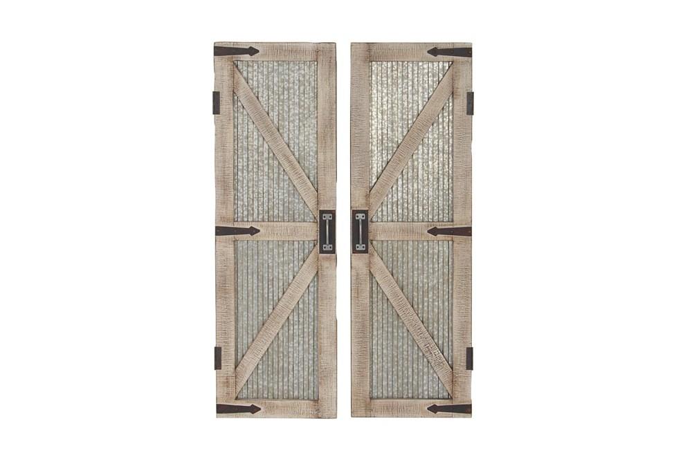 "Silver 47"" Wood Metal Barn Door Wall Panel Set Of 2"