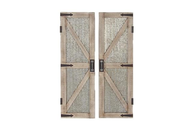 "Silver 47"" Wood Metal Barn Door Wall Panel Set Of 2 - 360"