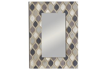 Multi 40 Inch Wood Framed Wall Mirror