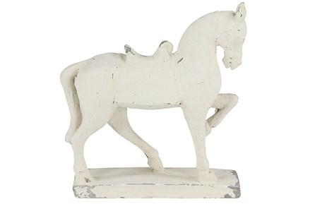 White 14 Inch Fiberglass Horse Sculpture - Main