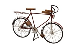 Black 14 Inch Metal Wood Bicycle Sculpture