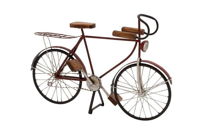 Black 14 Inch Metal Wood Bicycle Sculpture - 360