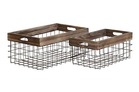 Black 8 Inch Metal Wood Basket Set Of 2 - Main