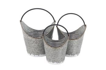 Grey 16 Inch Metal Pail Planter Set Of 3