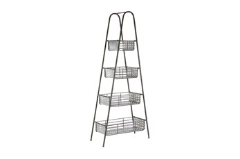 Black 65 Inch Metal 4 Tier Storage Rack