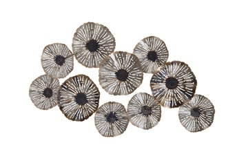 Silver 28 Inch Metal Floral Wall Decor