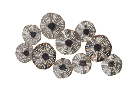 Silver 28 Inch Metal Floral Wall Decor - Main