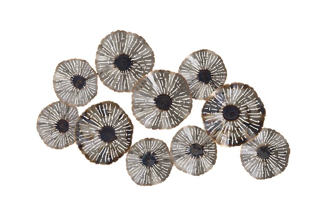 Silver 28 Inch Metal Floral Wall Decor - 360