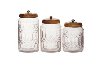 Set Of 3 Antiqued Clear Glass Canisters