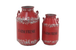 Red 20 Inch Metal Red Milk Decorative Can Set Of 2