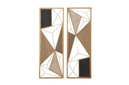 Multi 35 Inch Metal Wood Geometric Design Wall Plaque Set Of 2