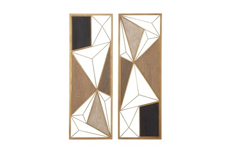 Multi 35 Inch Metal Wood Geometric Design Wall Plaque Set Of 2 - Main