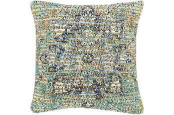 Accent Pillow-Jute Traditional Aqua 18X18