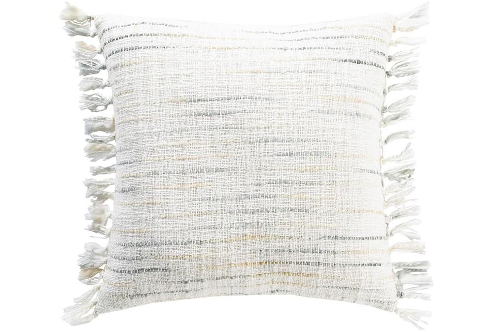 Accent Pillow-Side Fringe Soft Blue 18X18