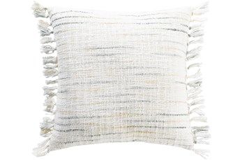 Accent Pillow-Side Fringe Soft Blue 18X18