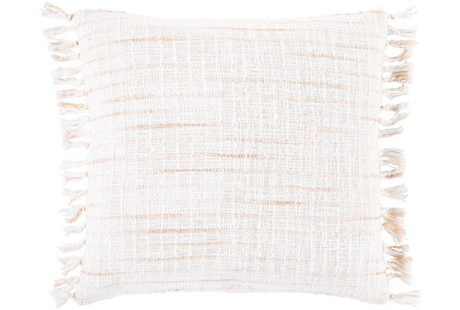 Accent Pillow-Side Fringe Soft Coral  18X18 - 360