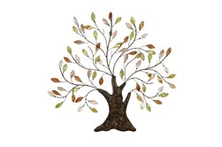 Green 29 Inch Metal Capiz Tree Wall Art
