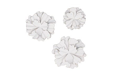 White 19 Inch Metal Wall Decor Set Of 3 - Main