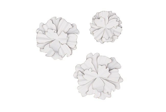 White 19 Inch Metal Wall Decor Set Of 3 - 360