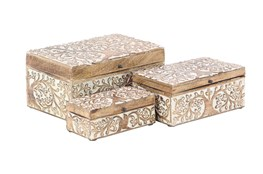 Brown 6 Inch Wood Box Set Of 3