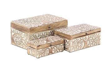 Brown 6 Inch Wood Box Set Of 3