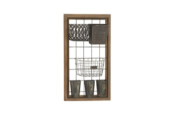 Brown 32 Inch Metal Wood Wall Storage