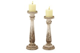 Brown 15 Inch Wood Candle Holder Set Of 2