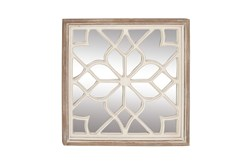 White 30 Inch Wood Mirror Decor