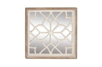 White 30 Inch Wood Mirror Decor
