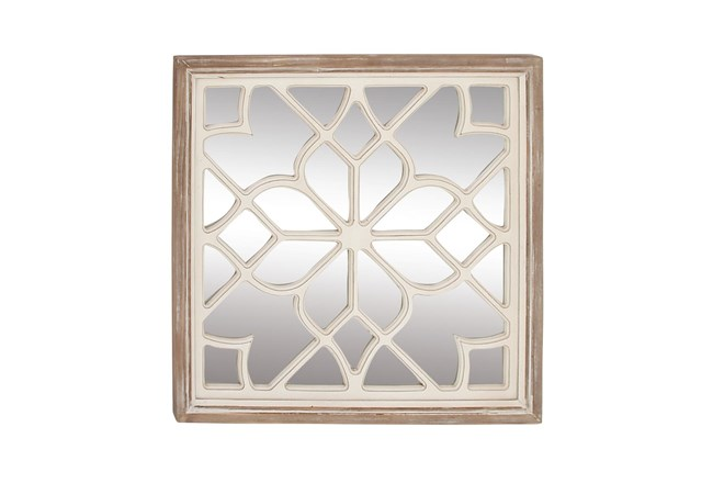 White 30 Inch Wood Mirror Decor - 360
