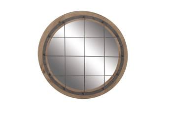 Blue 32 Inch Wood Metal Wall Mirror