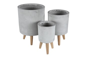 Grey 17 Inch Fiber Clay Planter Set Of 3