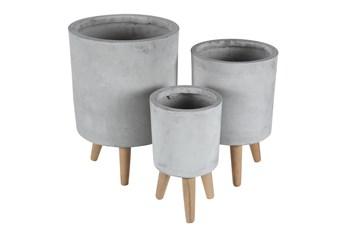 Grey 17 Inch Fiber Clay Planter Set Of 3