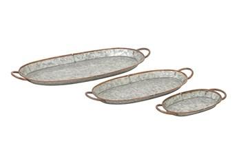 Grey 1 Inch Metal Galvanized Tray Set Of 3
